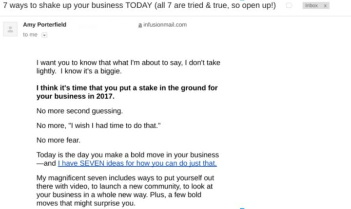 Email copy storytelling example