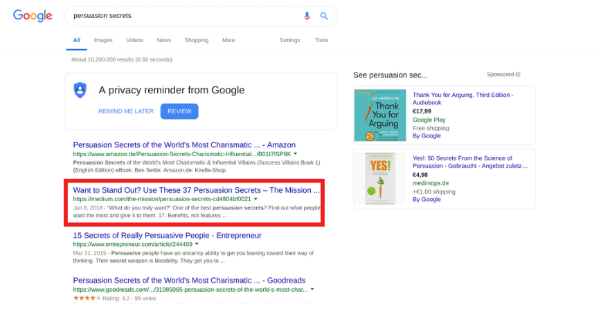 Google First Page Ranking