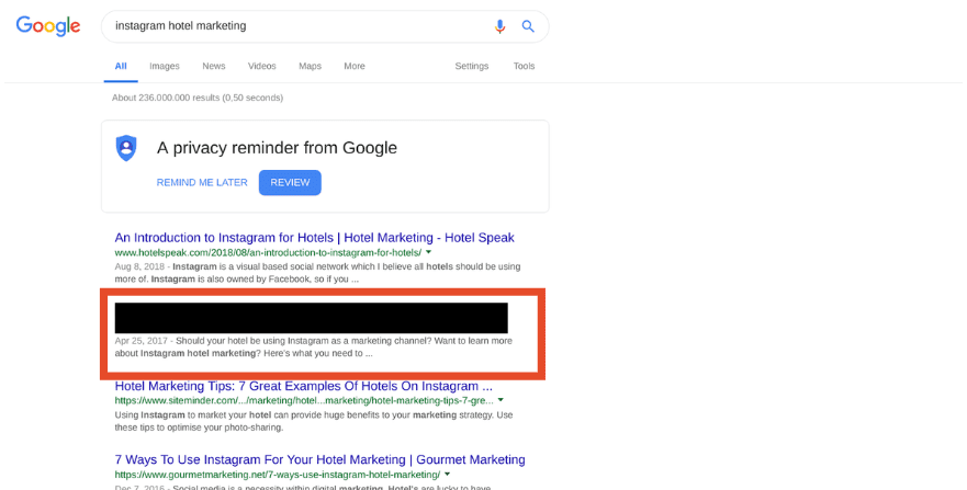 Google First Page ranking hotel marketing