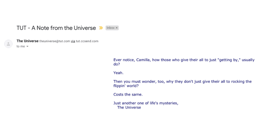 Notes from the Universe engaging email